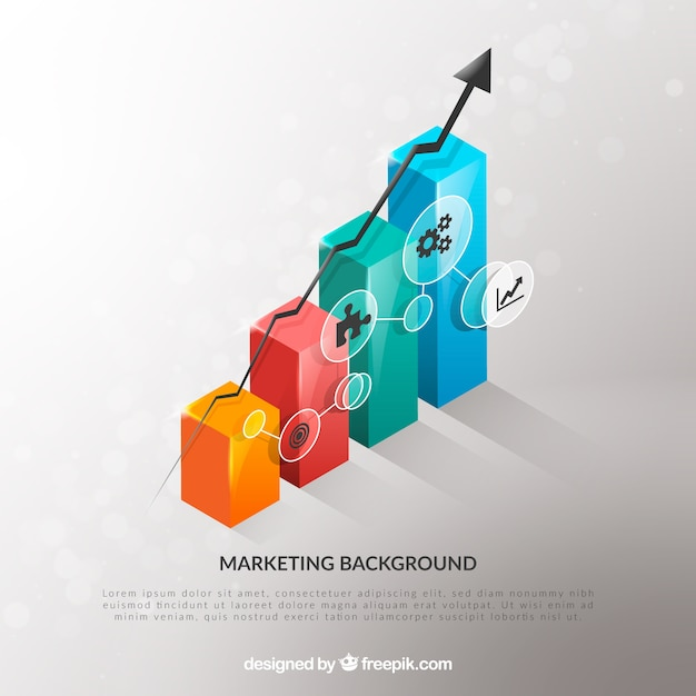 Marketing-elemente hintergrund in realistischer stil Kostenlosen Vektoren