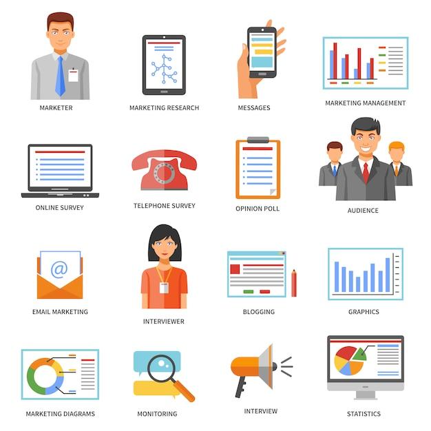 Marketing farbige symbole Kostenlosen Vektoren