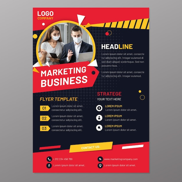 Marketing flyer vorlage Premium Vektoren