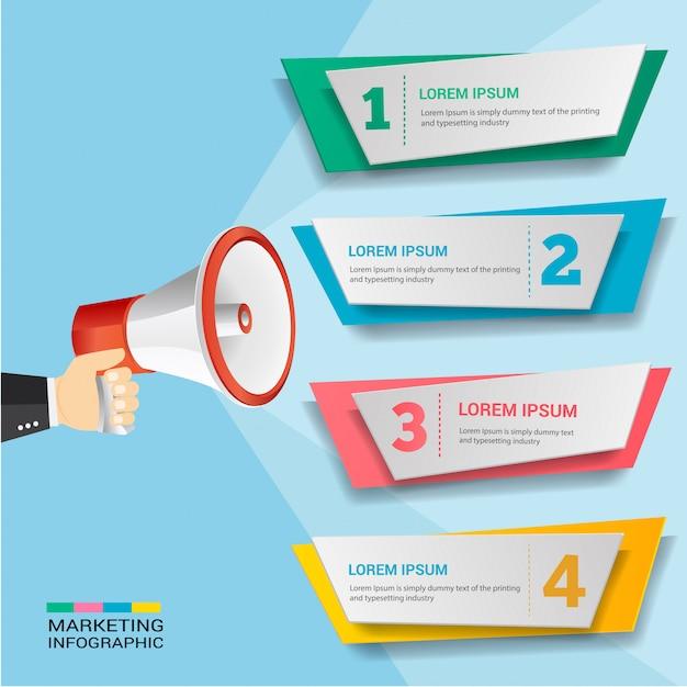 Marketing fördern infografik Premium Vektoren