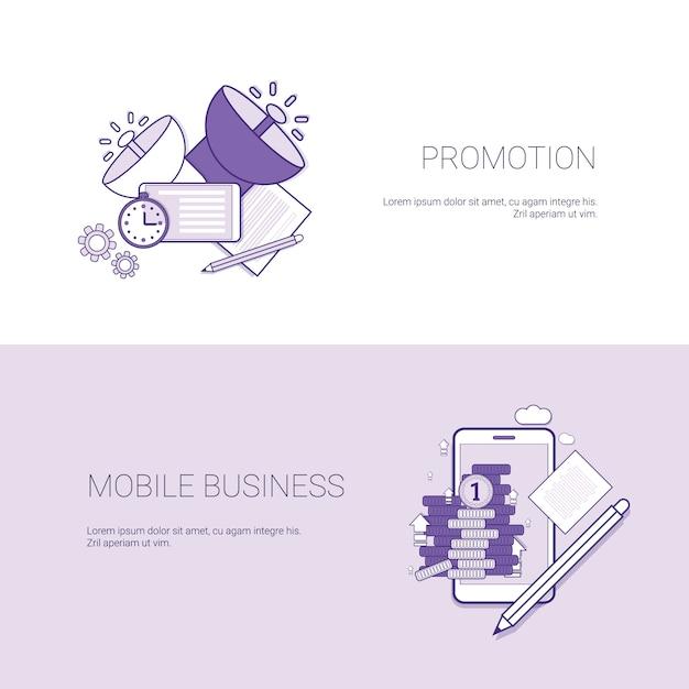 Marketing-förderung und mobile business template web banner mit textfreiraum Premium Vektoren