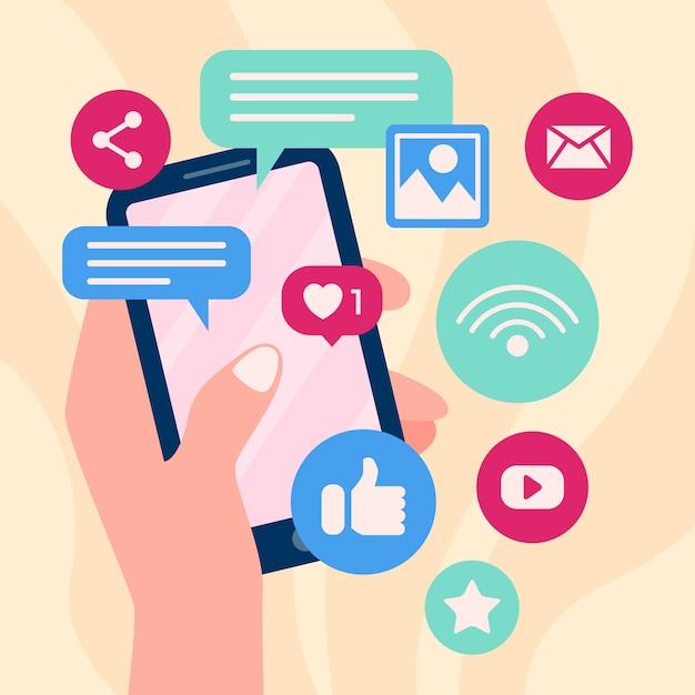 Marketing-handy mit apps und hand Kostenlosen Vektoren