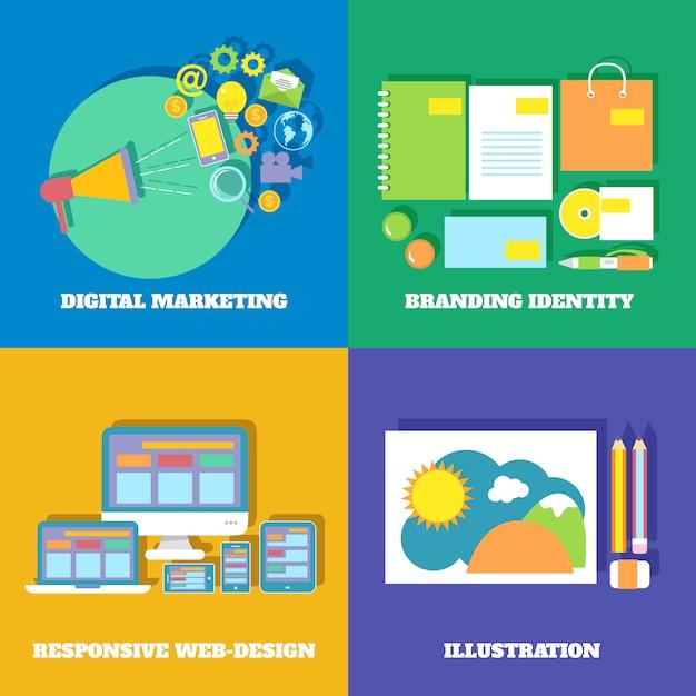 Marketing-ikonen eingestellt Kostenlosen Vektoren