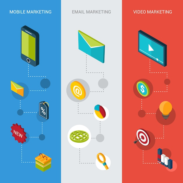 Marketing isometrische banner Kostenlosen Vektoren