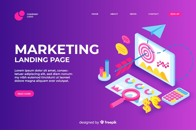Marketing-landingpage des isometrischen designs Kostenlosen Vektoren