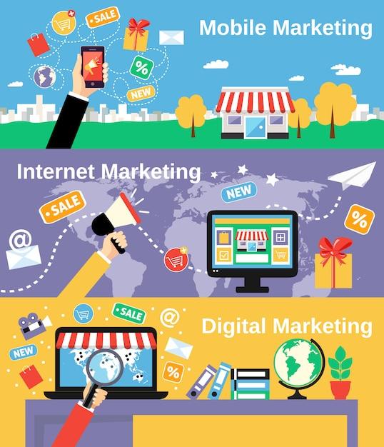 Marketing linie banner gesetzt Kostenlosen Vektoren