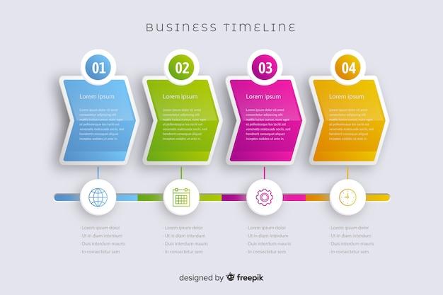 Marketing satz von schritten infografik timeline Kostenlosen Vektoren