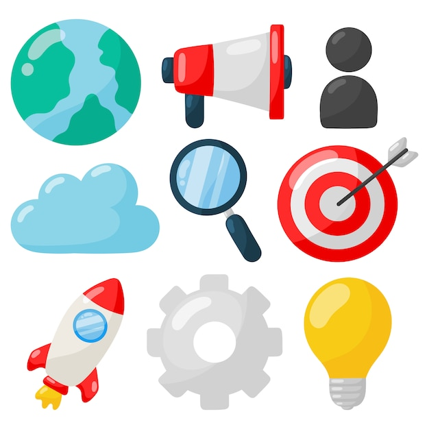 Marketing. seo icons auf weiß Premium Vektoren