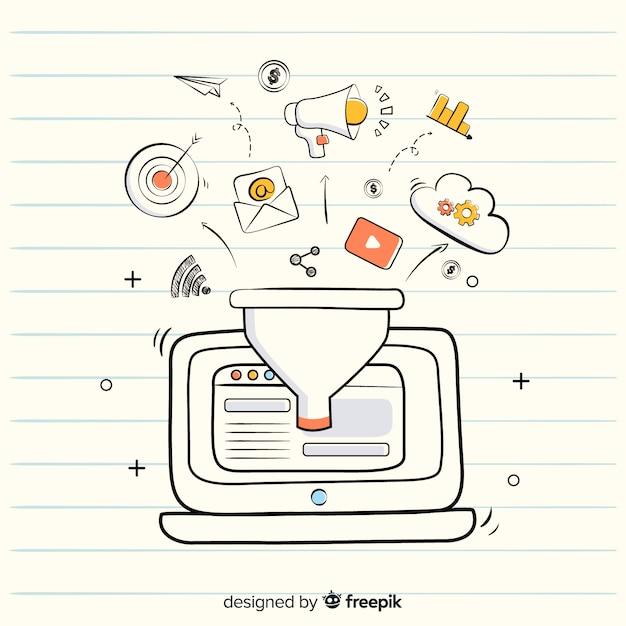 Marketing-trichter-hintergrund Kostenlosen Vektoren