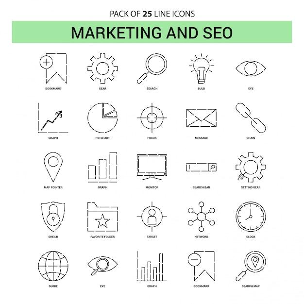 Marketing und seo line icon set - 25 gestrichelte umriss-stil Premium Vektoren