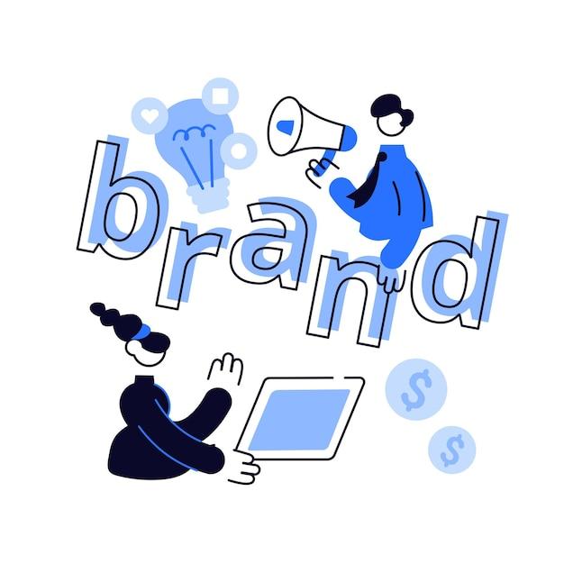 Marketing- und werbekampagne. aufbau der markenbekanntheit. Premium Vektoren