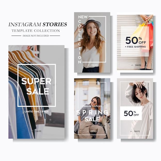 Marketing von social-media-geschichten für mode Premium Vektoren