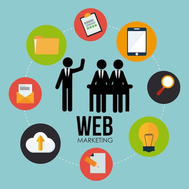 Marketingdesign über blauem hintergrund Premium Vektoren