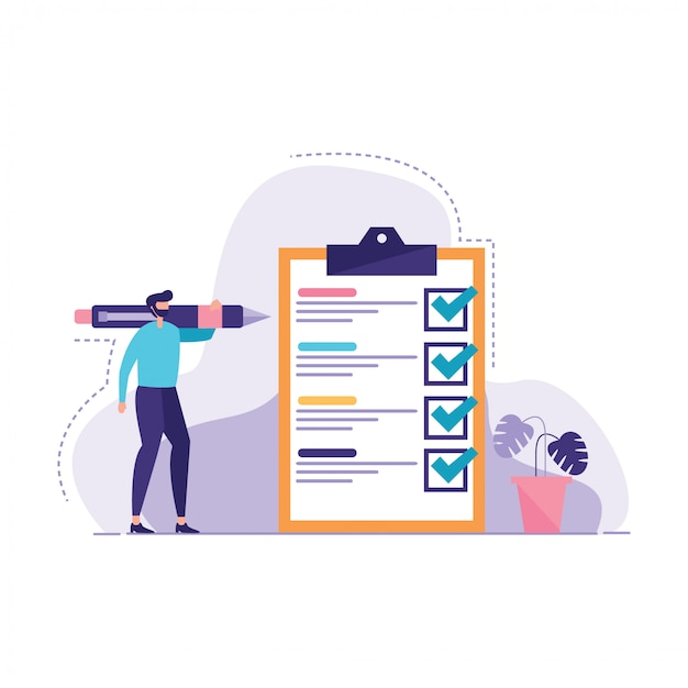 Markierte checklistenillustration des businesman Premium Vektoren