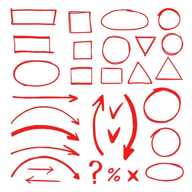 Markierte hand gezeichnete gekritzelelementvektorillustration Premium Vektoren