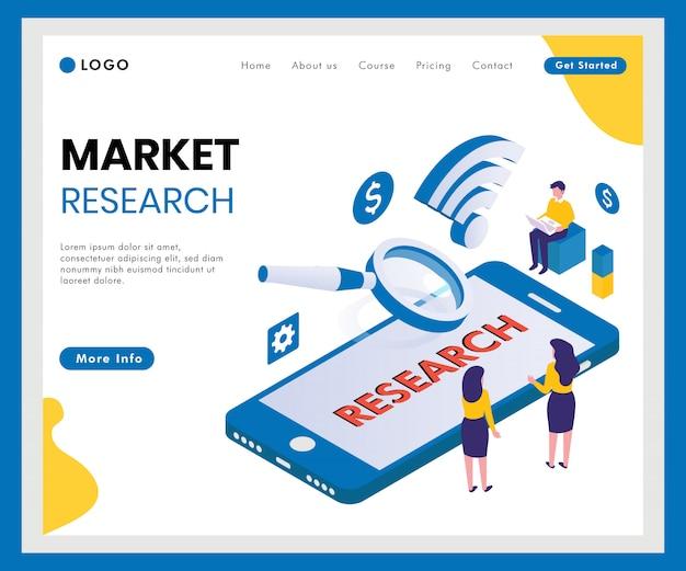 Marktforschung isometrische web-banner Premium Vektoren