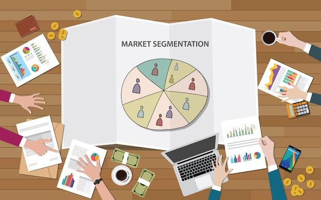 Marktmarketing-segmentierung mit personengruppe nach segmenten Premium Vektoren