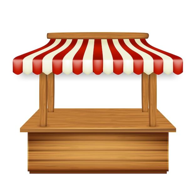 Marktpavillon kiosk mit markise Premium Vektoren