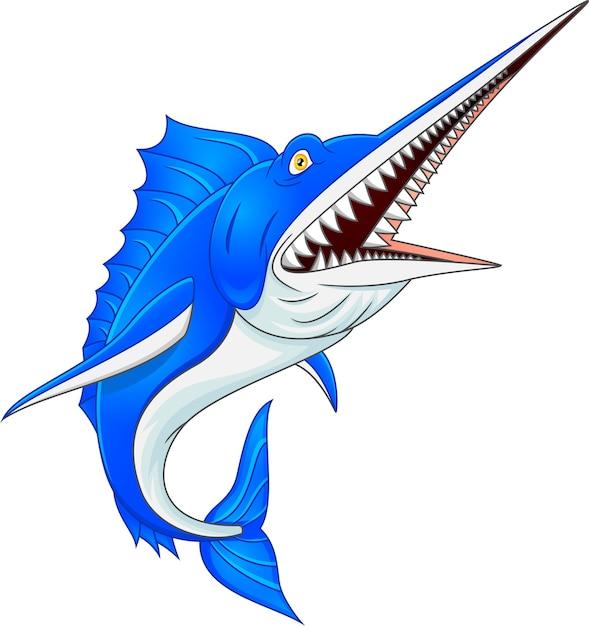 Marlin fisch lokalisiert auf weißem hintergrund Premium Vektoren