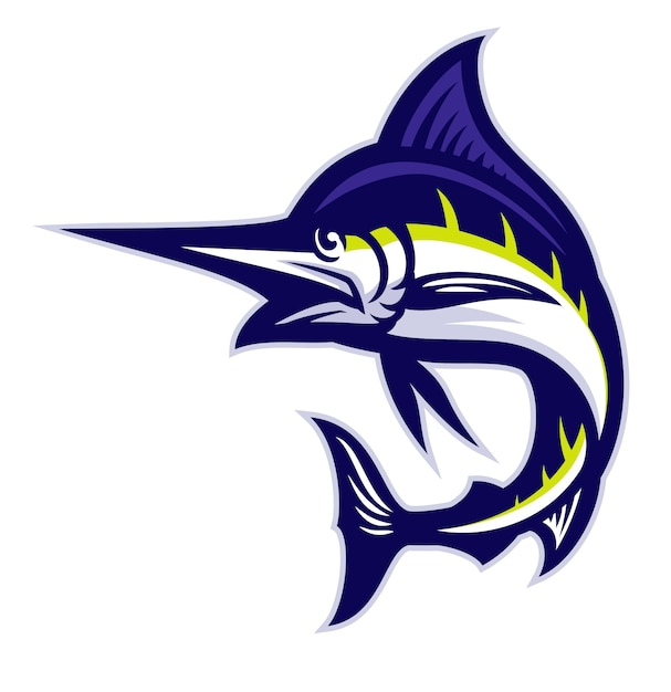Marlin fisch maskottchen Premium Vektoren