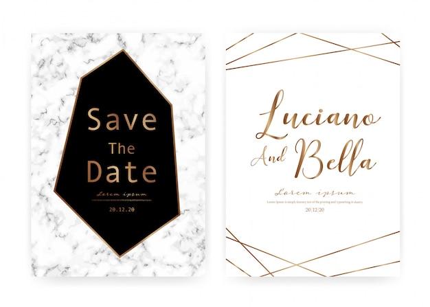 Marmorhochzeits-einladungskarte, speichern die datumshochzeitskarte, modernes kartendesign mit marmorbeschaffenheit Premium Vektoren