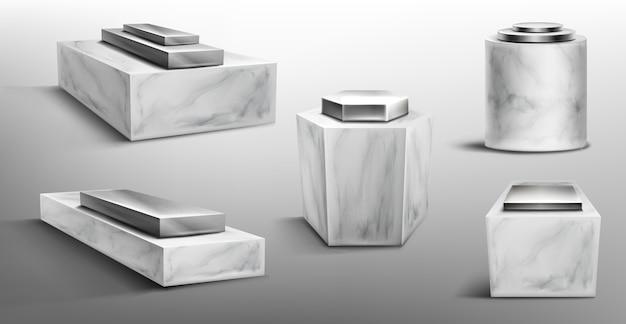 Marmorsockel mit metallplattform oben für das ausstellungsprodukt Kostenlosen Vektoren