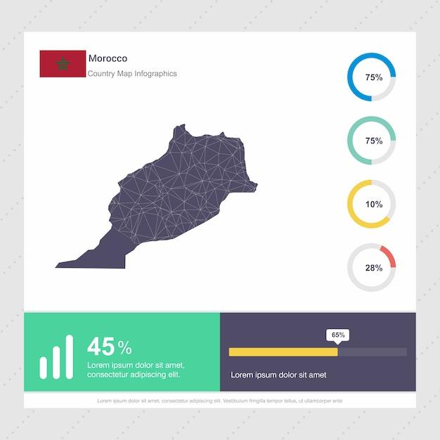 Marokko karte & fahne infografiken vorlage Premium Vektoren