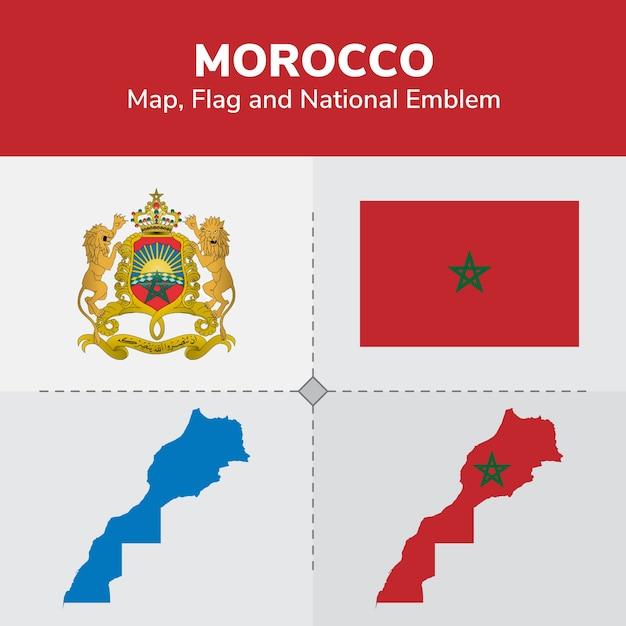 Marokko karte, flagge und national emblem Premium Vektoren