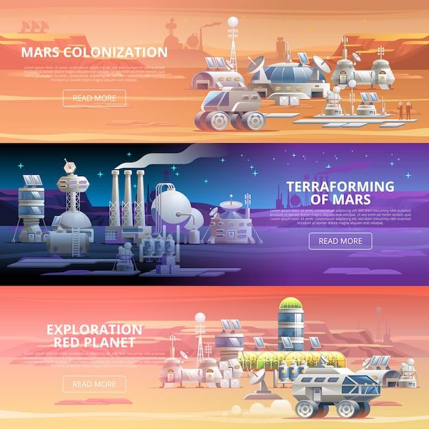 Mars kolonisation banner Premium Vektoren