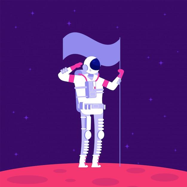 Mars kolonisation. holging flagge des astronauten auf rotem planeten im weltraum. mars-projekt astronautik Premium Vektoren