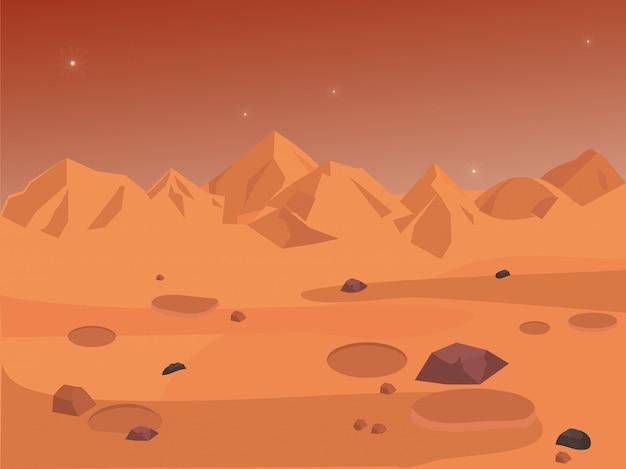 Mars-landschaft, raumhintergrund nahtlos Premium Vektoren