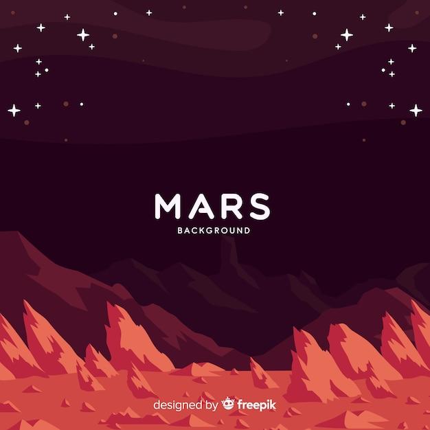 Mars-landschaftshintergrund mit flachem design Kostenlosen Vektoren
