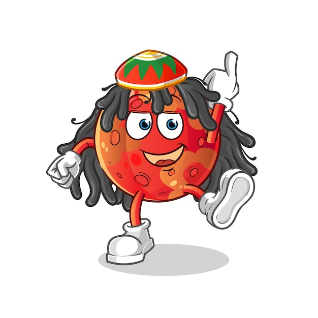 Mars reggae boy cartoon illustration Premium Vektoren