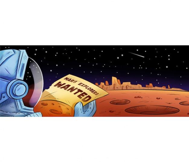 Marsforscher wollten handgezeichnete cartoon-banner Premium Vektoren