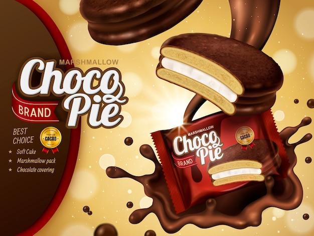 Marshmallow chocolate pie ad, splashg premium schokoladensauce und soft cake mit paket isoliert auf glitter bokeh hintergrund Premium Vektoren