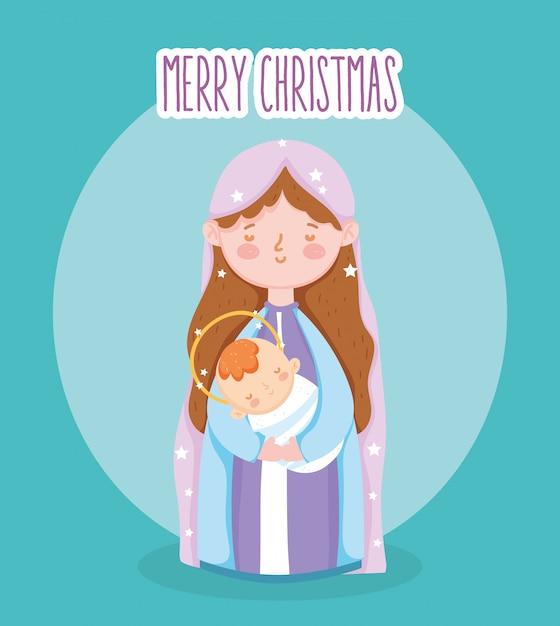 Mary mit baby in der armkrippenkrippe, frohe weihnachten Premium Vektoren