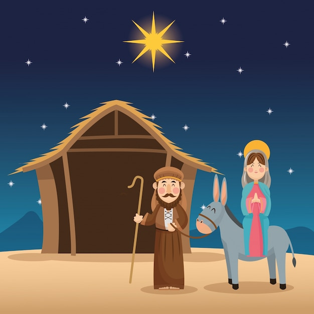 Mary und joseph cartoon-symbol Premium Vektoren