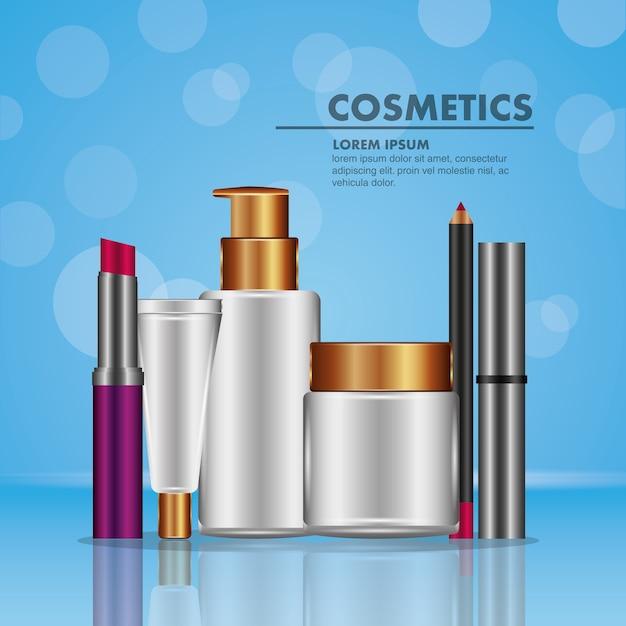 Mascara eyeliner lippenstift spray und puderkosmetik Premium Vektoren