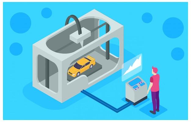 Maschine des druckers 3d, die auto herstellt Premium Vektoren