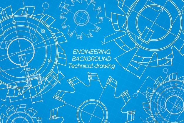 Maschinenbauzeichnungen auf blauem hintergrund. schneidwerkzeuge, fräser. technisches design. entwurf. vektor-illustration Premium Vektoren