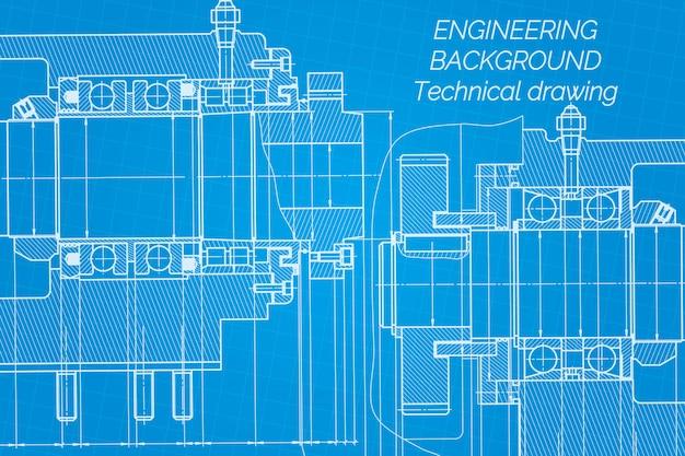Maschinenbauzeichnungen blueprint. Premium Vektoren