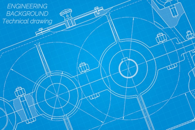 Maschinenbauzeichnungen. reduzierstück. technisches design. Premium Vektoren