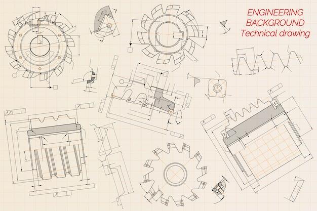 Maschinenbauzeichnungen Premium Vektoren