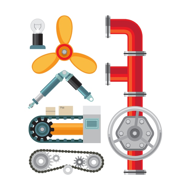 Maschinenteile flache elemente gesetzt Premium Vektoren