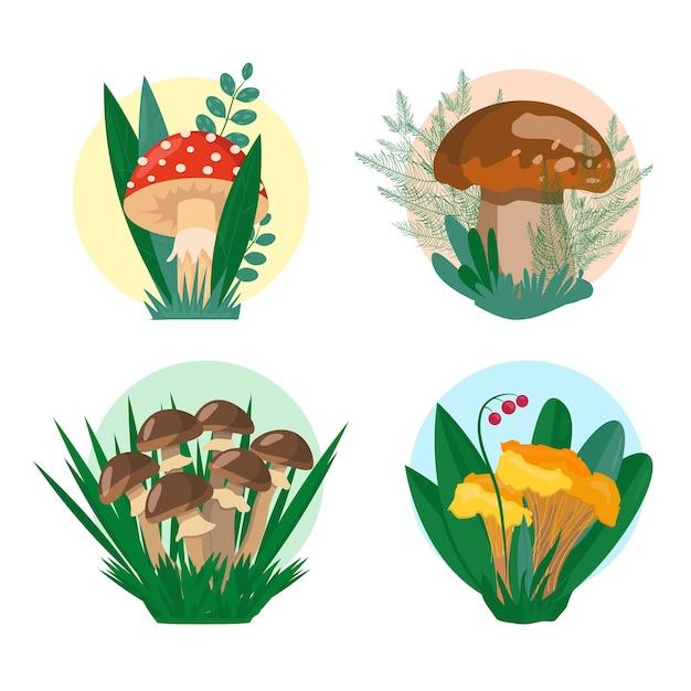 Mashrooms set illustration Premium Vektoren