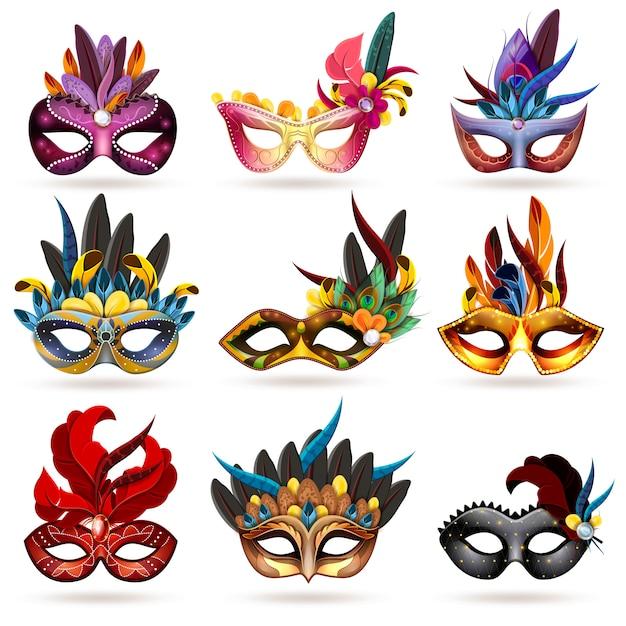 Mask icons set Kostenlosen Vektoren