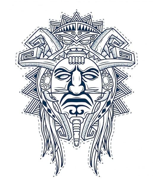 Maske der götter des aztekischen volkes Premium Vektoren
