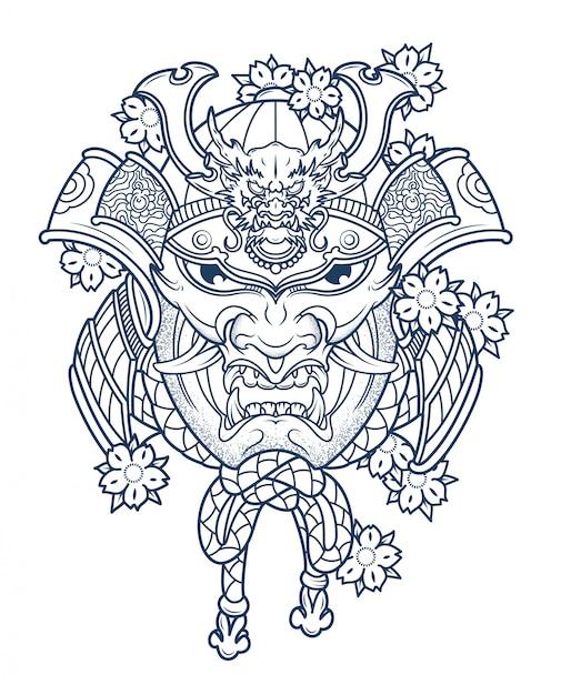 Maske des bösen japanischen samurai in farben Premium Vektoren