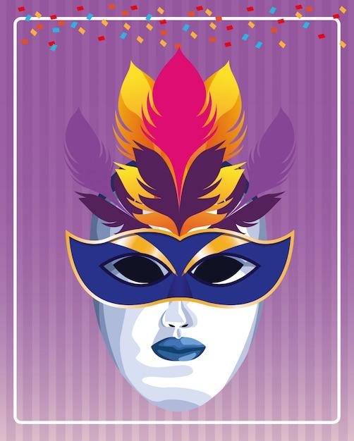 Maske mit federvektorillustration Premium Vektoren