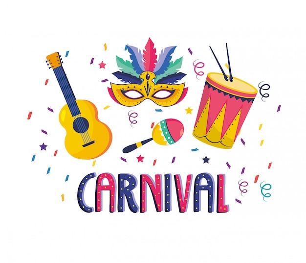 Maske mit trommel und maracas mit trommel zum feiern Premium Vektoren